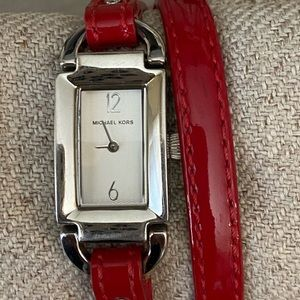 Michael Kors double wrap watch with red band
